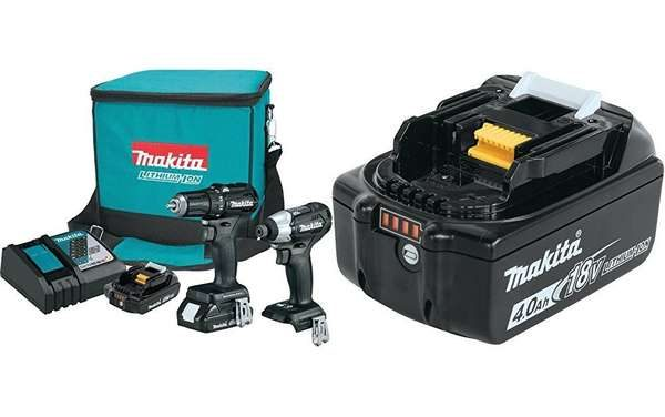 Makita CX200RB 18V LXT Lithium-Ion Sub-Compact Brushless Cordless 2-Pc. Combo Kit (2.0Ah) with free Makita BL1840B 18V LXT Lithium-Ion 4.0Ah Battery